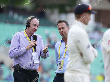 Michael Vaughan (centre) the former England captain is interviewed by Jonathan Agnew (left) from BBC Test Match Special within earshot of England captain Joe Root (right) who he had criticised after the team?s defeat in the previous Test match