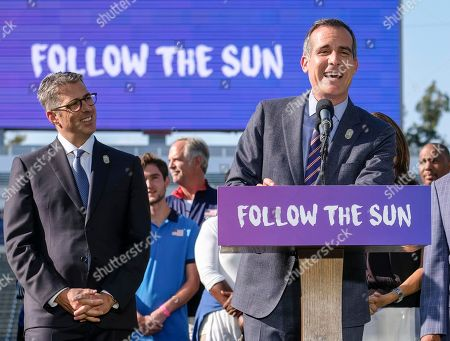 Los Angeles Mayor Eric Garcetti and Bid Chairman Casey Wasserman in a press conference to make an announcement for the city to host the Olympic Games and Paralympic Games 2028, at StudHub Center in Carson, Calif., in