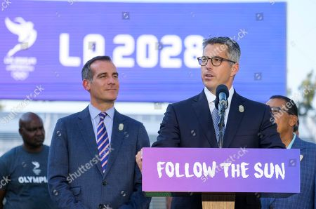 Bid Chairman Casey Wasserman speaks in a press conference to make an announcement for the city to host the Olympic Games and Paralympic Games 2028, at StudHub Center in Carson, Calif., in