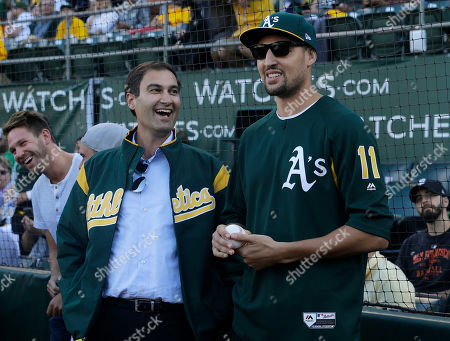 Dave Kaval, Klay Thompson Oakland Athletics president Dave Kaval, left, laughs with Golden State Warriors basketball player Klay Thompson before Thompson threw out a ceremonial first pitch before a baseball game between the Athletics and the San Francisco Giants in Oakland, Calif