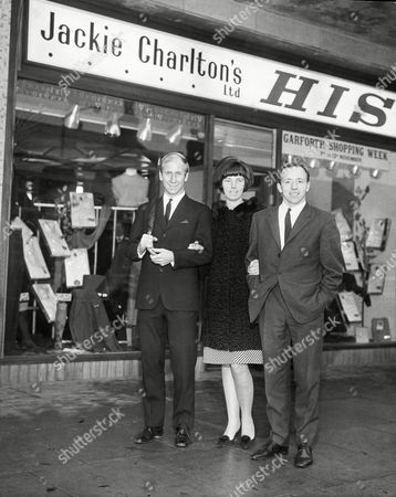 Bobby Charlton Nobby Stiles And Pat Charlton Pictured At The Opening Of Brother Jackie Charlton's Shop.