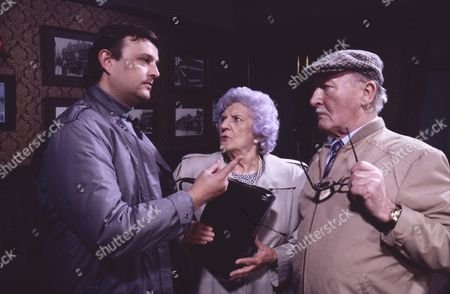Cast Member, Jill Summers (as Phyllis Pearce) and Bill Waddington (as Percy Sugden)