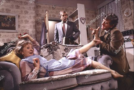 Stock Image of Thelma Barlow (as Mavis Wilton), Peter Baldwin (as Derek Wilton) and Christopher Coll (as Victor Pendlebury)