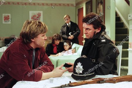 After accidentally shooting Donna with an airgun, Scott is missing and the police are at the Windsors' questioning Vic - With Vic Windsor, as played by Alun Lewis ; Viv Windsor, as played by Deena Payne ; Donna Windsor, as played by Sophie Jeffrey. (Ep 2050 - 1st February 1996).