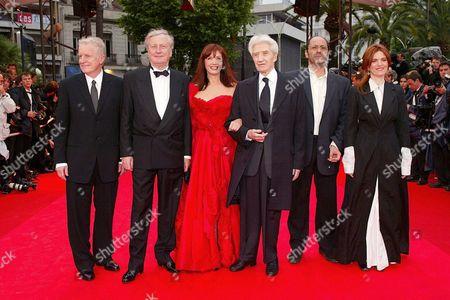 Andre Dussollier, Claude Rich, Sabine Azema, Alain Resnais, Jean-Pierre Bacri & Agnes Jaoui at 'Spirit' screening, Cannes Film Festival, France