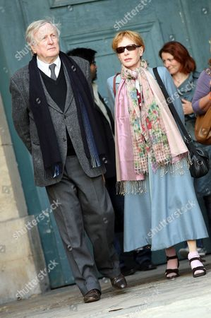 Claude Rich and his wife Funeral of french actor Jean-Pierre Cassel at Saint-Eustache's Church, Paris, France