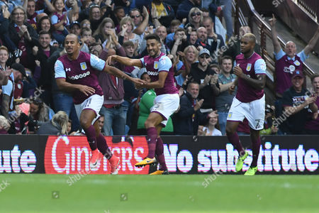 Aston Villa?s Gabriel Agbonlahor celebrates scoring during the Championship match between Aston Villa vs Hull City, Aston Villa, Birmingham United Kingdom - 5th August 2017