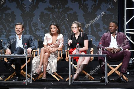 "Grant Show, Nathalie Kelley, Elizabeth Gillies, Sam Adegoke Grant Show, from left, Nathalie Kelley, Elizabeth Gillies and Sam Adegoke participate in the ""Dynasty"" panel during The CW portion of the 2017 Summer TCA's at the Beverly Hilton Hotel, in Beverly Hills, Calif"
