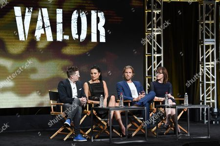 """Kyle Jarrow, Christina Ochoa, Matt Barr, Anna Fricke Kyle Jarrow, from left, Christina Ochoa, Matt Barr and Anna Fricke participate in the """"Valor"""" panel during The CW portion of the 2017 Summer TCA's at the Beverly Hilton Hotel, in Beverly Hills, Calif"""