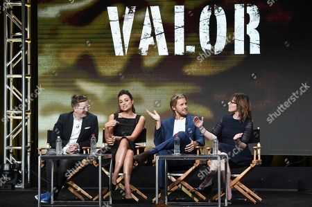 """Stock Image of Kyle Jarrow, Christina Ochoa, Matt Barr, Anna Fricke Kyle Jarrow, from left, Christina Ochoa, Matt Barr and Anna Fricke participate in the """"Valor"""" panel during The CW portion of the 2017 Summer TCA's at the Beverly Hilton Hotel, in Beverly Hills, Calif"""