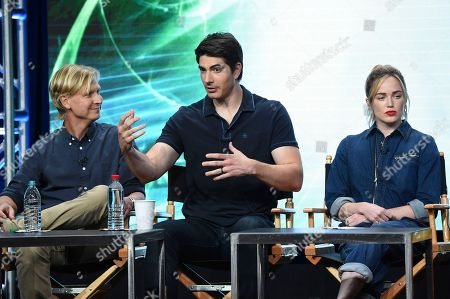 """Phil Klemmer, Brandon Routh, Caity Lotz Phil Klemmer, from left, Brandon Routh, Caity Lotz participate in the """"DC's Legends of Tomorrow"""" panel during The CW portion of the 2017 Summer TCA's at the Beverly Hilton Hotel, in Beverly Hills, Calif"""