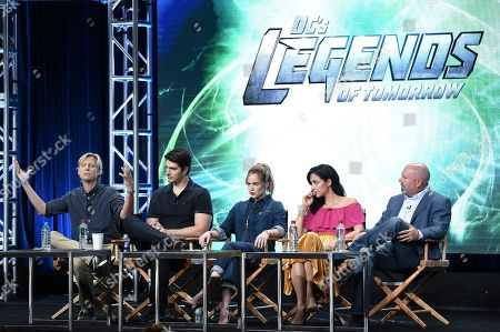 """Phil Klemmer, Brandon Routh, Caity Lotz, Tala Ashe, Marc Guggenheim Phil Klemmer, from left, Brandon Routh, Caity Lotz, Tala Ashe and Marc Guggenheim participates in the """"DC's Legends of Tomorrow"""" panel during The CW portion of the 2017 Summer TCA's at the Beverly Hilton Hotel, in Beverly Hills, Calif"""