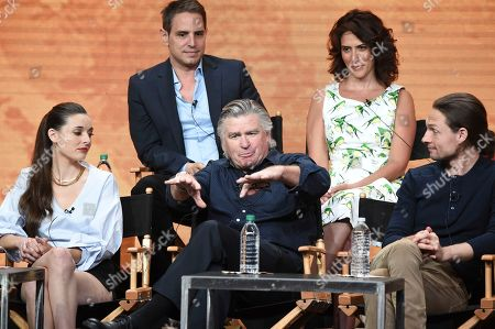 """Vivien Cardone, Treat Williams, Gregory Smith Vivien Cardone, from left, Treat Williams and Gregory Smith participate in the """"Everwood"""" panel during The CW portion of the 2017 Summer TCA's at the Beverly Hilton Hotel, in Beverly Hills, Calif"""