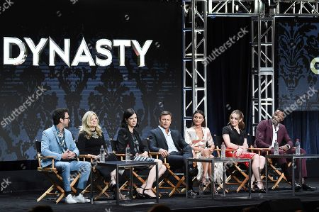 "Josh Schwartz, Stephanie Savage, Sallie Patrick, Grant Show, Nathalie Kelley, Elizabeth Gillies, Sam Adegoke Josh Schwartz, from left, Stephanie Savage, Sallie Patrick, Grant Show, Nathalie Kelley, Elizabeth Gillies and Sam Adegoke participate in the ""Dynasty"" panel during The CW portion of the 2017 Summer TCA's at the Beverly Hilton Hotel, in Beverly Hills, Calif"