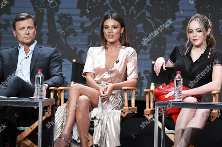 "Grant Show, Nathalie Kelley, Elizabeth Gillies Grant Show, from left, Nathalie Kelley and Elizabeth Gillies participate in the ""Dynasty"" panel during The CW portion of the 2017 Summer TCA's at the Beverly Hilton Hotel, in Beverly Hills, Calif"