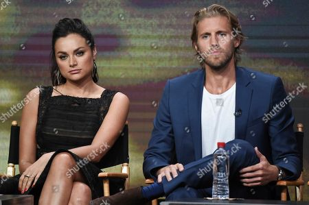 """Christina Ochoa, Matt Barr Kyle Jarrow, left, and Christina Ochoa participate in the """"Valor"""" panel during The CW portion of the 2017 Summer TCA's at the Beverly Hilton Hotel, in Beverly Hills, Calif"""