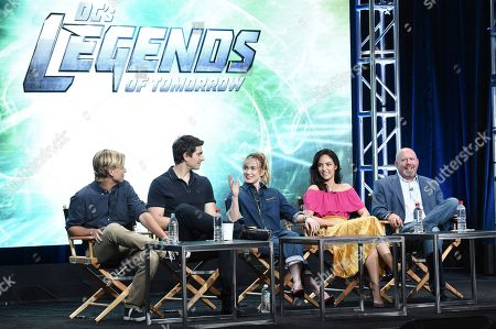 """Stock Photo of Phil Klemmer, Brandon Routh, Caity Lotz, Tala Ashe, Marc Guggenheim Phil Klemmer, from left, Brandon Routh, Caity Lotz, Tala Ashe and Marc Guggenheim participates in the """"DC's Legends of Tomorrow"""" panel during The CW portion of the 2017 Summer TCA's at the Beverly Hilton Hotel, in Beverly Hills, Calif"""