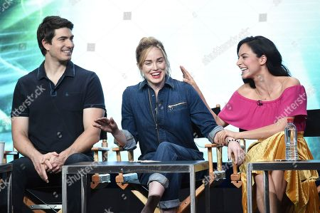 """Brandon Routh, Caity Lotz, Tala Ashe Brandon Routh, from left, Caity Lotz and Tala Ashe participate in the """"DC's Legends of Tomorrow"""" panel during The CW portion of the 2017 Summer TCA's at the Beverly Hilton Hotel, in Beverly Hills, Calif"""