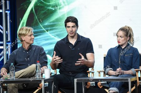 """Stock Image of Phil Klemmer, Brandon Routh, Caity Lotz Phil Klemmer, from left, Brandon Routh, Caity Lotz participate in the """"DC's Legends of Tomorrow"""" panel during The CW portion of the 2017 Summer TCA's at the Beverly Hilton Hotel, in Beverly Hills, Calif"""