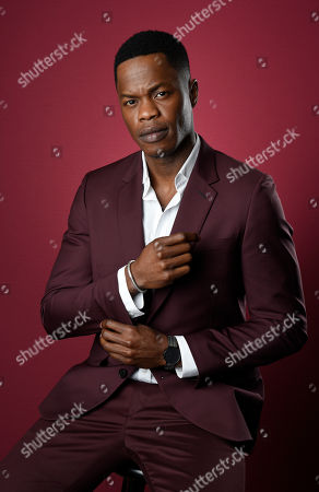 "Sam Adegoke, a cast member in the CW series ""Dynasty,"" poses for a portrait during the 2017 Television Critics Association Summer Press Tour at the Beverly Hilton, in Beverly Hills, Calif"