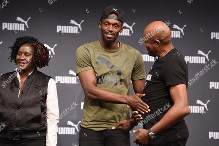 Stock Image of Jennifer Bolt, Usain Bolt and Wellesley Bolt
