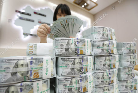 An employee looks at stacks of US dollars at the KEB-Hana Bank in Seoul, South Korea, 03 August 2017. According to media reports, the Bank of Korea announced that South Korea's foreign exchanges recorded 383.76 billion US dollar as of the end of July 2017, a record high for three months in a row.