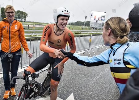 Racewinner and goldmedalist Ellen Van Dijk of Holland is greeted by silvermedalist Belgian Ann-Sophie Duyck reacts after crossing the finishing line in the Womens elite single start  at the Cycling Road European Championships in Herning, Denmark on 03 August 2017