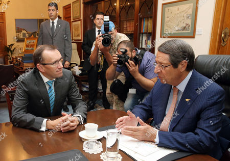 Stock Picture of Espen Barth Eide and Nicos Anastasiades