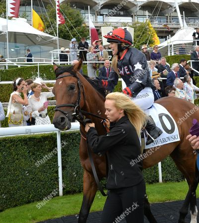 Sarah Ayton riding Stable Returns, is led out for The Magnolia Cup, The Goodwood Ladies Race.