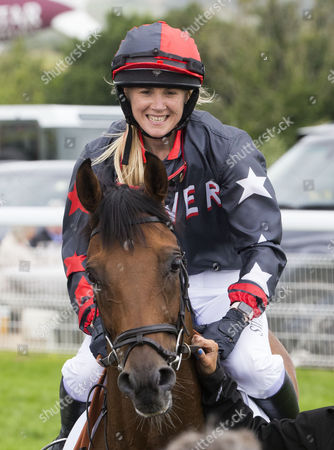 Stock Image of Olympic Medal winner Sarah Ayton after riding in the Magnolia Cup at the Glorious Goodwood Festival.