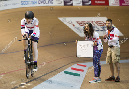 Katie Ford and her coach, Charline Joiner, Commonwealth Games Silver medallist, as Katie attempts to break four world records including the 6, 8 and 12-hour indoor track cycling world records and the record for the fastest 100-mile distance covered on an indoor track this summer.