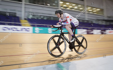 Stock Image of Katie Ford and her coach, Charline Joiner, Commonwealth Games Silver medallist, as Katie attempts to break four world records including the 6, 8 and 12-hour indoor track cycling world records and the record for the fastest 100-mile distance covered on an indoor track this summer.