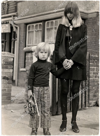 Linda Lawrence Ex-girlfriend Of Rolling Stone Brian Jones Now Married Donovan Leitch. Linda Is Pictured With Her Son Julian On Their Way To Brian Jones Funeral.
