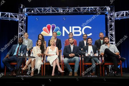 "Stock Image of Demetrius Grosse, Chris Ord, Natacha Karam, Sofia Pernas, Anne Heche, Dean Georgaris, Mike Vogel, Tate Ellington, Hadi Tabbal, Matt Corman, Noah Mills, Mikal Vega Demetrius Grosse, from left, Chris Ord, Natacha Karam, Sofia Pernas, Anne Heche, Dean Georgaris, Mike Vogel, Tate Ellington, Hadi Tabbal, Matt Corman, Noah Mills and Mikal Vega participate in the ""The Brave"" panel during the NBC Television Critics Association Summer Press Tour at The Beverly Hilton, in Beverly Hills, Calif"