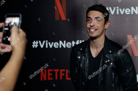 """Actor Alberto Guerra who plays the role of Canek Lagos the Netflix series """"Ingobernable"""", poses for photos at a red carpet event in Mexico City"""