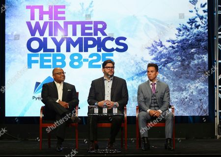 """Mike Tirico, Jim Bell, Apolo Ohno Xxx participate in """"The PyeongChang 2018 Winter Olympics"""" panel during the NBC Television Critics Association Summer Press Tour at the Beverly Hilton, in Beverly Hills, Calif"""