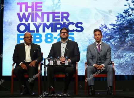 "Mike Tirico, Jim Bell, Apolo Ohno Xxx participate in ""The PyeongChang 2018 Winter Olympics"" panel during the NBC Television Critics Association Summer Press Tour at the Beverly Hilton, in Beverly Hills, Calif"