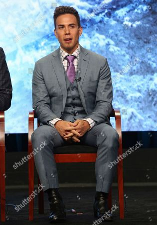 """Apolo Ohno participates in """"The PyeongChang 2018 Winter Olympics"""" panel during the NBC Television Critics Association Summer Press Tour at the Beverly Hilton, in Beverly Hills, Calif"""