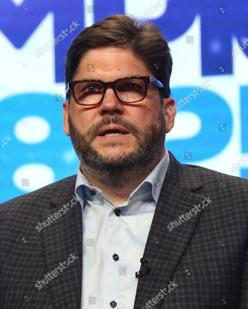 """Jim Bell participates in """"The PyeongChang 2018 Winter Olympics"""" panel during the NBC Television Critics Association Summer Press Tour at the Beverly Hilton, in Beverly Hills, Calif"""