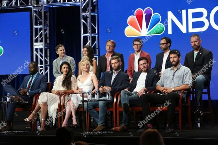"Stock Picture of Demetrius Grosse, Natacha Karam, Anne Heche, Mike Vogel, Hadi Tabbal, Noah Mills, Chris Ord, Sofia Pernas, Dean Georgaris, Tate Ellington, Matt Corman, Mikal Vega Demetrius Grosse, from front row left, Natacha Karam, Anne Heche, Mike Vogel, Hadi Tabbal and Noah Mills, and from back row left, showrunner/executive producer Chris Ord, Sofia Pernas, executive producer/showrunner/creator Dean Georgaris, Tate Ellington, executive producer/showrunner Matt Corman and Mikal Vega participate in the ""The Brave"" panel during the NBC Television Critics Association Summer Press Tour at The Beverly Hilton, in Beverly Hills, Calif"