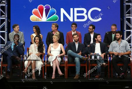 "Demetrius Grosse, Natacha Karam, Anne Heche, Mike Vogel, Hadi Tabbal, Noah Mills, Chris Ord, Sofia Pernas, Dean Georgaris, Tate Ellington, Matt Corman, Mikal Vega Demetrius Grosse, from front row left, Natacha Karam, Anne Heche, Mike Vogel, Hadi Tabbal and Noah Mills, and from back row left, showrunner/executive producer Chris Ord, Sofia Pernas, executive producer/showrunner/creator Dean Georgaris, Tate Ellington, executive producer/showrunner Matt Corman and Mikal Vega participate in the ""The Brave"" panel during the NBC Television Critics Association Summer Press Tour at The Beverly Hilton, in Beverly Hills, Calif"