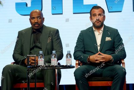 """Steve Harvey, Shane Farley Host/executive producer Steve Harvey, left, and executive producer Shane Farley participate in the """"Steve"""" panel during the NBC Television Critics Association Summer Press Tour at the Beverly Hilton, in Beverly Hills, Calif"""