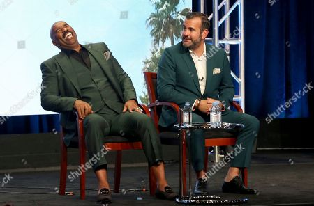 """Stock Picture of Steve Harvey, Shane Farley Host/executive producer Steve Harvey, left, and executive producer Shane Farley participate in the """"Steve"""" panel during the NBC Television Critics Association Summer Press Tour at the Beverly Hilton, in Beverly Hills, Calif"""