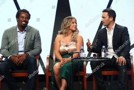 "Dhani Jones, Shawn Johnson East, Jeremy Bloom Dhani Jones, from left, Shawn Johnson East and Jeremy Bloom participate in the ""Adventure Capitalist"" panel during the CNBC Television Critics Association Summer Press Tour at the Beverly Hilton, in Beverly Hills, Calif"
