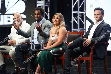 "Stock Photo of Jim Ackerman, Dhani Jones, Shawn Johnson East, Jeremy Bloom Jim Ackerman, EVP of Primetime Alternative, CNBC, from left, Dhani Jones, Shawn Johnson East and Jeremy Bloom participate in the ""Adventure Capitalist"" panel during the CNBC Television Critics Association Summer Press Tour at the Beverly Hilton, in Beverly Hills, Calif"