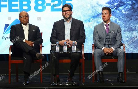 "Mike Tirico, Jim Bell, Apolo Ohno Mike Tirico, from left, Jim Bell, president, NBC Olympics production and programming, and Apolo Ohno participate in ""The PyeongChang 2018 Winter Olympics"" panel during the NBC Television Critics Association Summer Press Tour at the Beverly Hilton, in Beverly Hills, Calif"