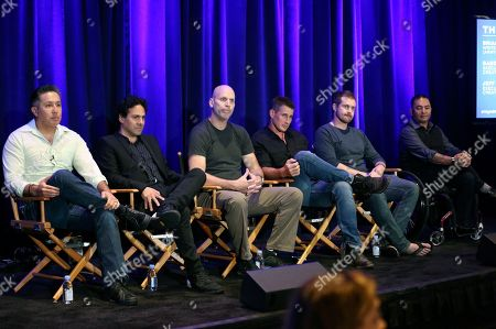 "Brian Anthony, Gabe Sachs, Jeff Judah, Brendan Fehr, Josh Kelly, Toby Montoya Brian Anthony, from left, creator/executives producer Gabe Sachs and Jeff Judah, Brendan Fehr, Josh Kelly and Toby Montoya participate in ""The Night Shift"" panel during the NBC Television Critics Association Summer Press Tour at the Beverly Hilton, in Beverly Hills, Calif"