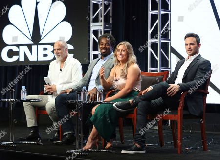 "Jim Ackerman, Dhani Jones, Shawn Johnson East, Jeremy Bloom Jim Ackerman, EVP of Primetime Alternative, CNBC, from left, Dhani Jones, Shawn Johnson East and Jeremy Bloom participate in the ""Adventure Capitalist"" panel during the CNBC Television Critics Association Summer Press Tour at the Beverly Hilton, in Beverly Hills, Calif"