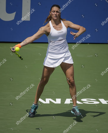 Simona Halep (ROU) defeats Mariana Duque-Marino (COL) at the Citi Open tennis tournament being played at Rock Creek Park Tennis Center in Washington, D.C
