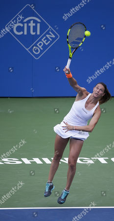Mariana Duque-Marino (COL) serves the ball at the Citi Open tennis tournament being played at Rock Creek Park Tennis Center in Washington, D.C